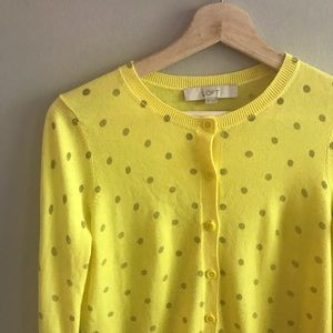 🎀LOFT🎀 Yellow Polka Dot Cardi
